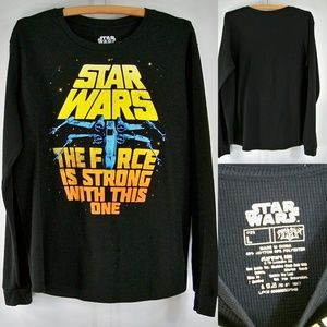 Mens L Star Wars The Force is Strong LS Shirt